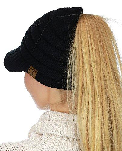 (C.C BeanieTail Warm Knit Messy High Bun Ponytail Visor Beanie Cap, Black)