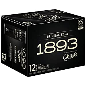 Pepsi Cola 1893, Original Cola, Certified Fair Trade Sugar, Real Kola Nut Extract 12 oz sleek cans (Pack of 12)