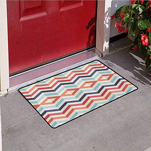 (Gloria Johnson Geometric Welcome Door mat Zig Zag Lines Chevron Stripes Going Up and Down with Optic Effect Image Door mat is odorless and Durable W29.5 x L39.4 Inch Blue Orange Red)