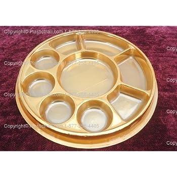 Amazon.com: Golden 9 Compartment Disposable Plastic Plate - 50 ...