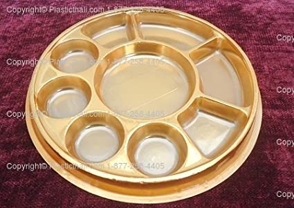 Amazon.com: Golden 9 Compartment Disposable Plastic Plate - 50 ...