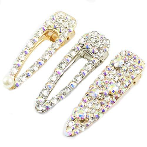 (Rhinestone Hairpins Pearls Hair Clips for Women Shiny Hair Barrettes Wedding Bridal Artificial Crystal Hairpins Handmade Bridesmaid Hair Accessories (3Pcs AB Crystal)