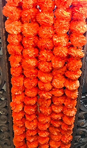5 pack Artificial Dark Orange Marigold flower garlands 5 ft long- for use in parties, celebrations, Indian weddings, Indian themed event, decorations, house warming, photo prop, Diwali, Ganesh Fest by R and D LTD