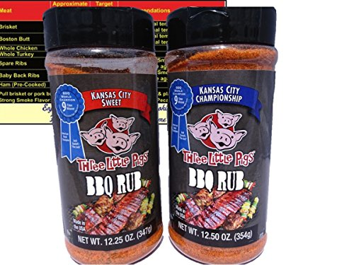 (Three Little Pigs Kansas City Sweet BBQ Rub 12.25 oz and Championship BBQ Rub 12.5 oz Gift Set Bundle Pack with Free Bonus Miniature Meat Smoking Guide Magnet)