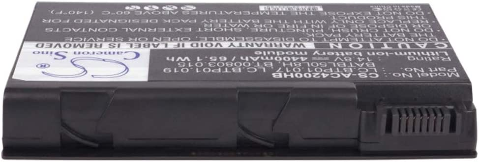 Cameron Sino 14.8V/4400mA BATBL50L8H,BT.00803.015,LC.BTP01.017,LC.BTP01.019 Replacement Battery for Acer Aspire 3690,Aspire 3692WLCi,Aspire 3693WLMI,Aspire 3694WLMi,Aspire 5100 Battery