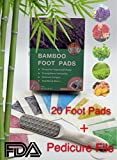 The Original 2 in 1 Bamboo Foot Pads and Pedicure File Rasp Set: (20) Foot Patches+ (1) Callus Remover, FDA Certified, Pain Relief, Sleep Aid,