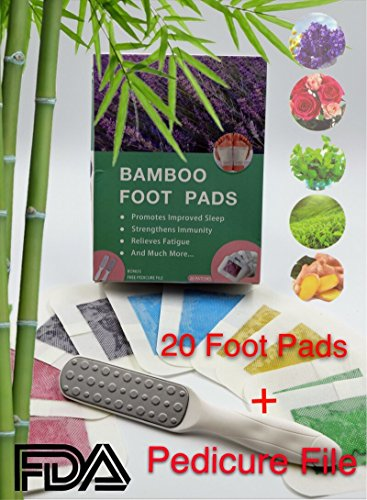 The Original 2 in 1 Bamboo Foot Pads and Pedicure File Rasp Set: (20) Foot Patches+ (1) Callus Remover, FDA Certified, Pain Relief, Sleep Aid, by Greaux, LLC