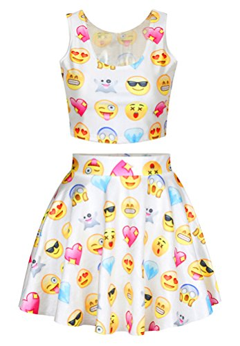 [Funny Emoji Print 2pcs White Crop Tops Skirt Set Cheerleading Uniform Costume] (Funny Uniform Costumes)