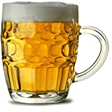 Traditional Glass Pint Tankards CE - Set of 4 | Also known as Dimpled Beer Tankard, Britannia Pint Mug, Beer Stein, Beer Mug