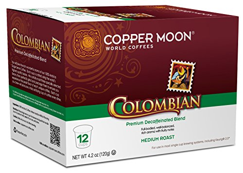 Copper Moon Single Cups for Keurig K-Cup Brewers, Colombian Decaf, 12 Count, Medium Roast Decaf Coffee, Full Bodied, Well Balanced, with A Rich Aroma and Fruity Notes, Single-Serve Coffee Pods