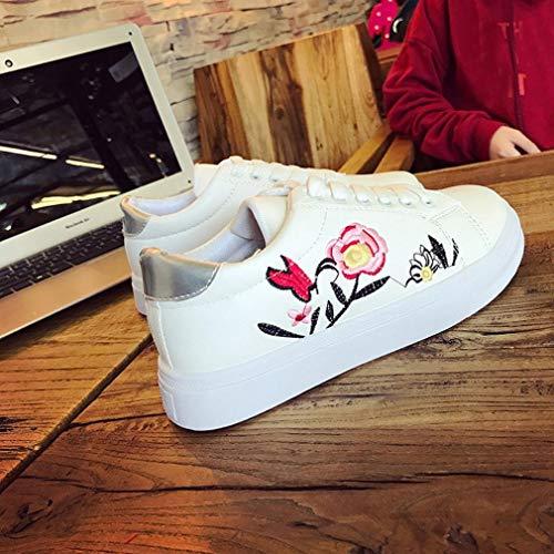 Chaussures Blanc Loisir BaZhaHei Blanc Brodé Plates Femmes Chaussures Chaussures Blanches Baskets Chaussures Sport Petit Sneakers Running Femme De Fleur 1UTw0qT7v