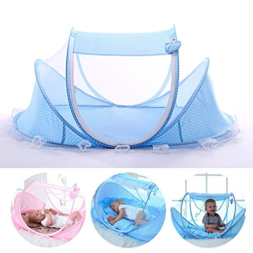 LUCKSTAR Baby Travel Bed - Fold Baby Bed Mosquito Net Netting Play Tent House for Baby/Kids (Blue) ()