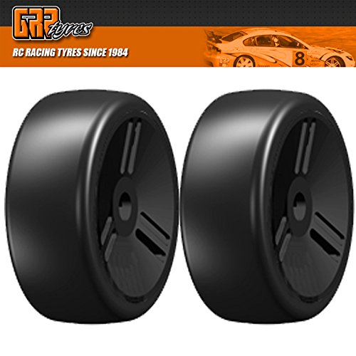 GRP GTV02-S7 1:8 GT T02 SLICK VELOCITY S7 MediumHard Tires Closed Black Wheel (2)