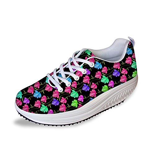 HUGS IDEA Sweety Style Flowers Mesh Wedges SHoes Platform Sneakers Floral 8