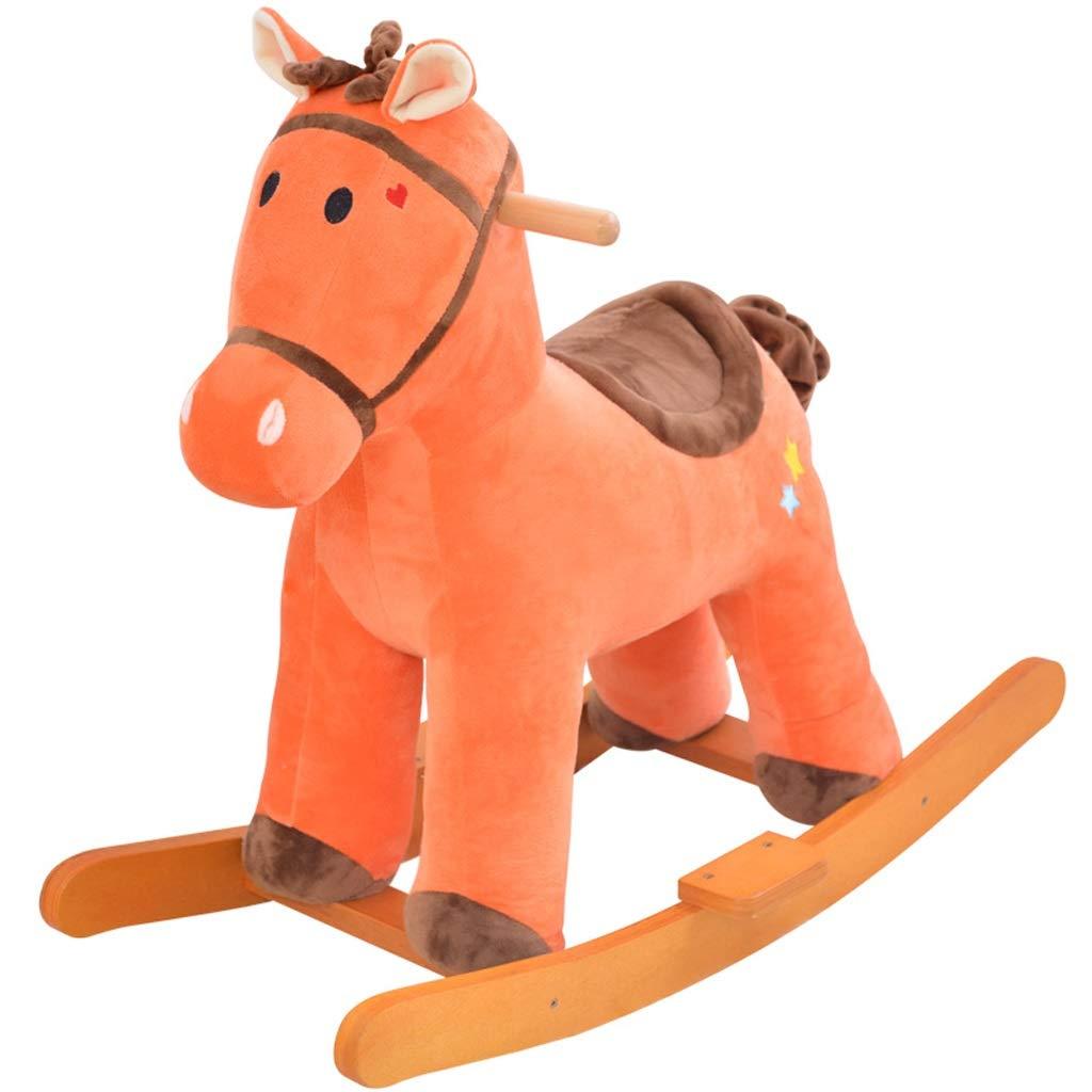 marca famosa Mecedoras marrón Plush Rocking Horse Madera Madera Madera Maciza Bebé Early Education música Enviar Pedal de pie  en venta en línea