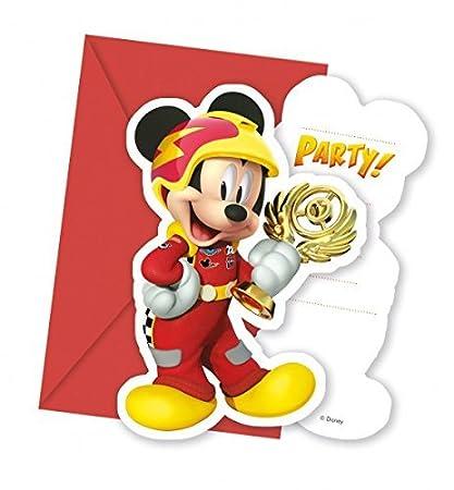 6 Invitaciones Y Sobres Mickey Roadster Para Fiestas De
