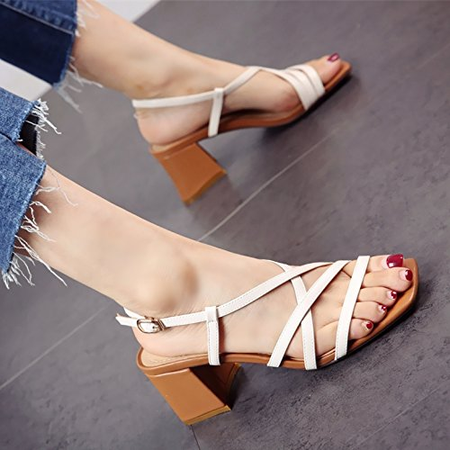 tacco in tacchi alta toe e sandali fashion con YMFIE stile tacco ruvida Estate b scarpe donna europeo square cross fibbie toe axOqp8HO