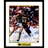 LA Lakers Magic Johnson Autographed (vs. Bird) 16x20 Photograph with Floating Plate Framed (COA)