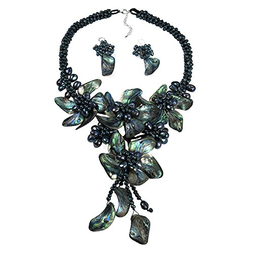 Peacock Abalone Shell-Cultured Freshwater Pearl Floral Statement Necklace And Earring Set - Abalone Cultured Pearl Necklace