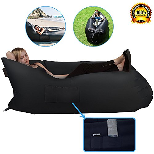 Hebensi Inflatable Hammock Lounger With Carrying Bag Air Sofa Hangout Couch Lounger Bag Waterproof Nylon Air Chair For Indoor Outdoor Camping Picnics