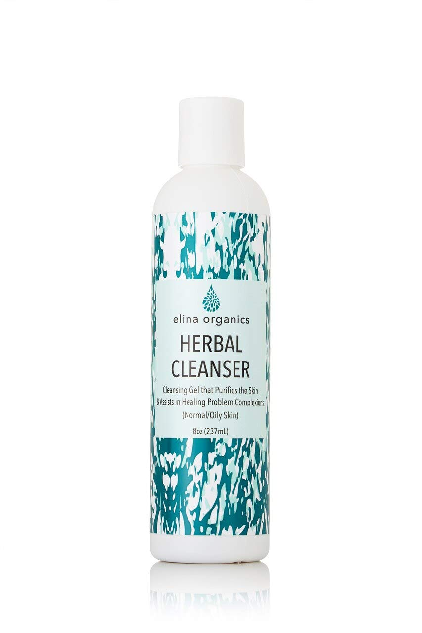 Elina Organics: Herbal Cleanser, 8oz, Organic Ingredients, All Natural, Clears Acne, Reduces Oil, Face Wash, Removes Makeup, Botanical Ingredients, Anti Blemish, Fights Acne, Calms Skin, Non Drying