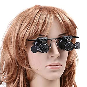 Allytech(TM) BigEye 20X Bright LED Light 2 Glasses Gauge Lens Type Repairing Headset Loupe Magnifier Lens Visor Two Eyepieces High Magnified Glass Weak Sight Helper with Sturdy Metal Frame (Black)