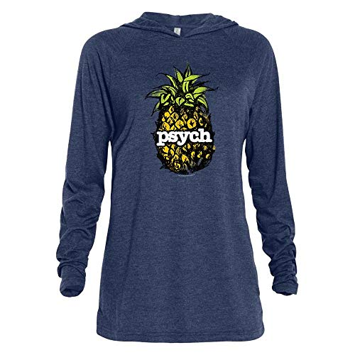 - Psych Vintage Pineapple Tri-Blend Raglan Hoodie - Athletic Navy Heather - Medium