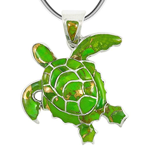 Turtle Pendant Necklace in Sterling Silver 925 & Genuine Gemstones (Green Turquoise) ()