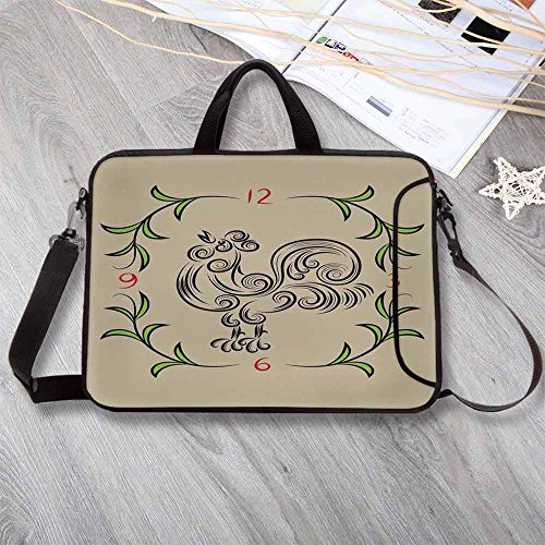 """(Kitchen Decor Neoprene Laptop Bag,Rooster and Floral Art Decorative Clock Time Swirls Leaves Farm Animal Theme Decoration Laptop Bag for Office Worker Students,12.6""""L x 9.4""""W x 0.8""""H)"""