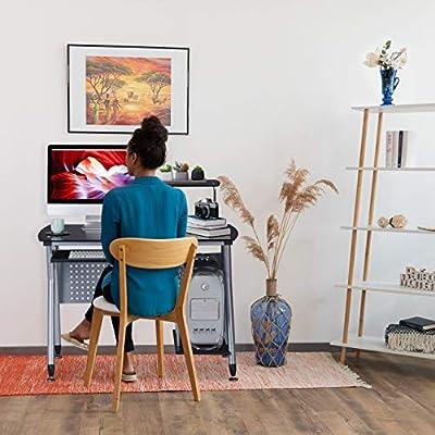 Relaxdays, 98 x 105 x 55 cm, Blanco Escritorio de PC, Bandeja de ...