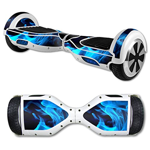MightySkins Protective Vinyl Skin Decal for Self Balancing Board Scooter mini hover 2 wheel x1 razor wrap cover sticker Blue Flames