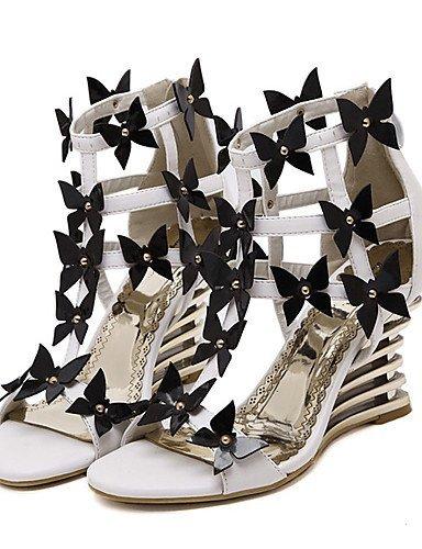 ShangYi Women's Shoes Leatherette Wedge Heel Open Toe Sandals Dress Black / White Black 8Q6o3k3