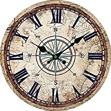 CXYY Retro Wall Clock Home Decoration Round Wall Clock With Roman Number Silent Decorative Vintage Rustic Wooden Clock Living Room , 2