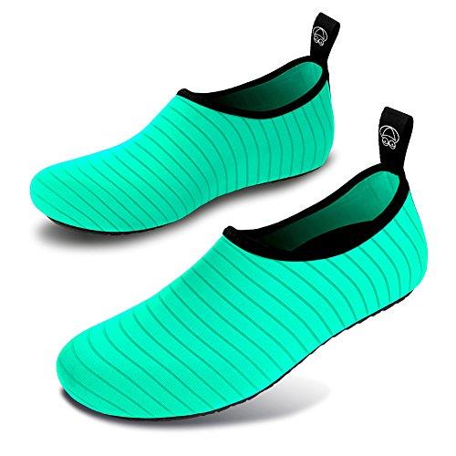 JIASUQI Damen und Herren Sommer Outdoor Wasserschuhe Aqua Socken für Beach Swim Surf Yoga Übung Streifen / Grün