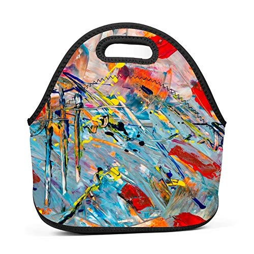 Aslgisy Handbags Tote Tie Dye Spray Paint Optical Illusion Graffiti Art Lunch Tote for Outdoor Travel Picnic,for Kids,Women,Adults,Girls and Teen ()