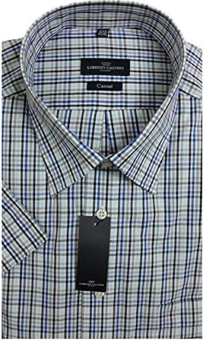Lorenzo Calvino Milano Camisa de Manga Corta Azul/Gris/Blanco a Cuadros 390111/14: Amazon.es: Ropa y accesorios