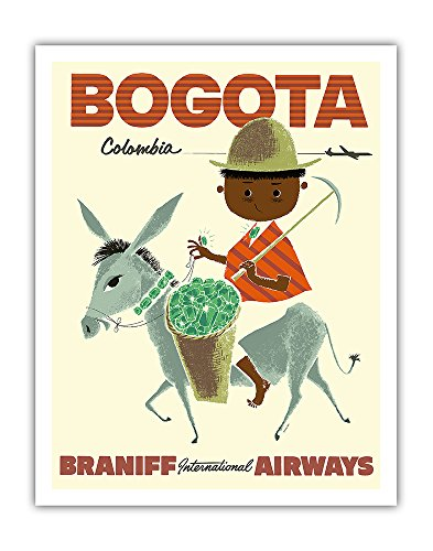 Fine Colombian Emerald (Bogota, Columbia - Braniff International Airways - Andes Boy with Colombian Emeralds - Vintage Airline Travel Poster c.1950s - Fine Art Print - 11in x 14in)
