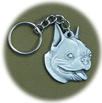 Boston Terrier Keychain Pewter