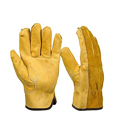 BearHoHo Work Gloves Cowhide Driver Gloves Anti Impact Safety Garden Glove Leather Welding/Motorcycle/Repair
