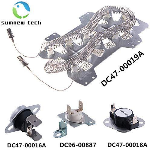 4-piece dryer compatible with Samsung dryer Heater element (DC47-00019A) Thermal fuse (DC96-00887A and DC47-00016A) Thermostat (DC47-00018A) Thermal cut-off fuse and thermostat kit (Dryer Coil Heater)