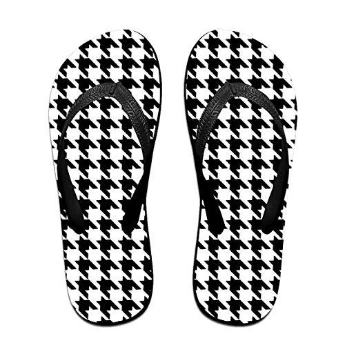 Houndstooth Blackwhite Flip Flops Summer Slippers Beach Sandals
