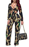 Remelon Womens 2 Piece Outfits Floral Chain Printed Wide Leg Palazzo Pants Set Sweatsuits Tracksuits Black L