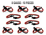 10 PIECES 8 GA 12'' QUICK DISCONNECT POLARIZED INLINE POWER CABLE WIRE HARNESS