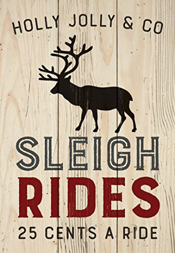 P. GRAHAM DUNN Holly Jolly & Co Sleigh Rides Natural 4.5 x 6.5 Solid Wood Mini Tabletop Sign