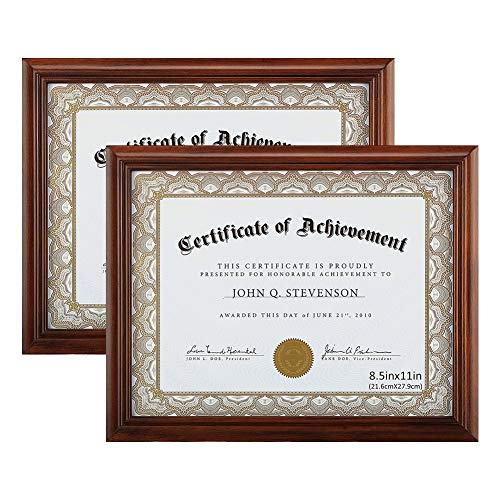 Exquisite Gold Wood Frame - RPJC Document Frame Certificate Frames (2PK) Made of Solid Wood High Definition Glass and Display Certificates 8.5x11 Inch Standard Paper Frame Brown