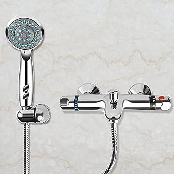 Godox Acero Inoxidable termostático baño bañera grifo mezclador Bimando Kit de ducha con alcachofa de ducha y manguera de ducha, Plateado, Wall Mounted ...