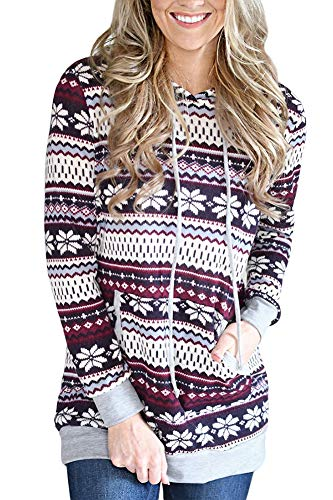 Christmas Women Snowflake Pattern Reindeer Sweatshirt Hoodie Cotton Gifts Pocket Pajamas Burgundy Snow M