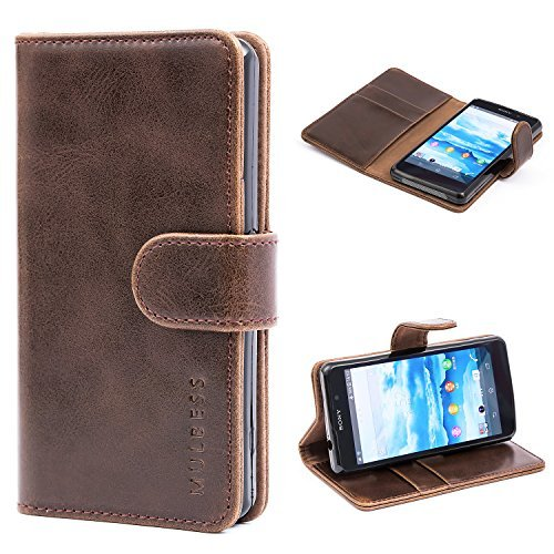 Sony Xperia Z1 Compact Case,Mulbess Leather Case, Flip Folio Book Case, Money Pouch Wallet Cover with Kick Stand for Sony Xperia Z1 Compact,Coffee Brown