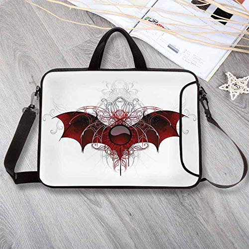 """- Vampire Waterproof Neoprene Laptop Bag,Round Figure with Dragon Wings Grungy Display Victorian Ornaments Antique Style Decorative Laptop Bag for Business Casual or School,14.6""""L x 10.6""""W x 0.8""""H"""