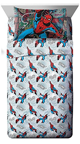 (Marvel Spiderman 'Jump Kick' 3 Piece Twin Sheet Set)